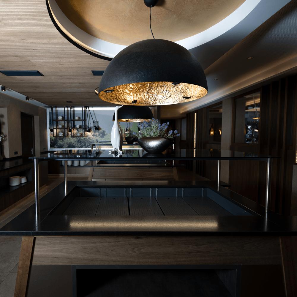 architekturfotografie luxuriöser speisesaal in südtirol
